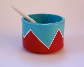 whimsical pottery Salt Dish w/ handmade ceramic spoon red & turquoise, condiment dish, sugar bowl
