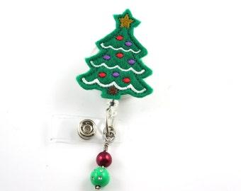 christmas tree w bulbs dk retractable id badge holder name