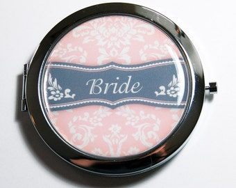 Bride compact mirror, mirror, bridal shower, Pink Gray, wedding shower gift, Wedding, Personalized, Bride, bridal party gift  (2701)