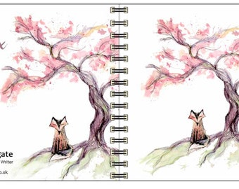 Cherry Fox spiral-bound square notebook - plain inside