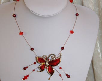 Necklace with red Butterfly