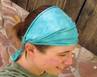 Teal Headband, Tie Dye Headband, Yoga Headband, Organic Cotton Headband, Scrunch Headband, Tie Dye Hair Wrap