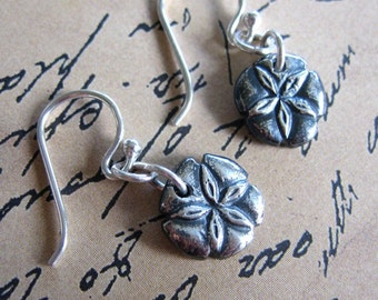 Sand dollar earrings - tiny  fine silver handmade sanddollars on sterling silver ear wires - ocean beach - free shipping USA