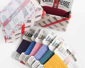 Wool Thread Set | 12 color Laine St. Pierre French Wool Embroidery Floss Boxed Set for Hand Embroidery, Darning (Vintage Colors - Asst 1)