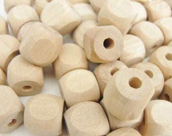 """Wooden square bead with rounded corners, rounded square bead, 1/2"""" with a 5/32"""" hole"""