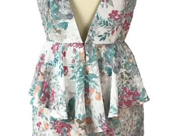 Handmade peplum V back dress