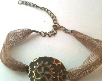 Mesh and Gear Embossed Steampunk Bracelet