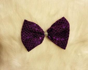 Purple Sparkle Fabric Hair Bow With Clip