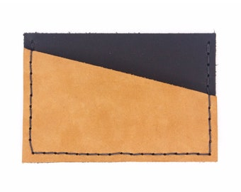 Leather Card Organizer - Black & Mustard