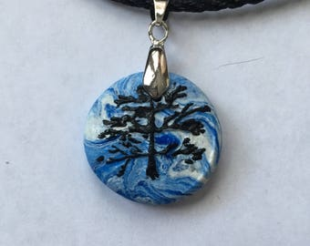 Tree Of Life In A Blue Sky Necklace In Polymer Clay.