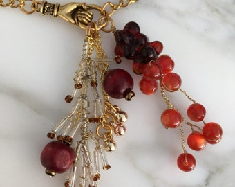 Long Persephone Gold Chain Necklace with Clustered Red Beads