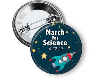 Vintage Rocket Pin/ Rocket Pin/ Spaceship Pin/ Science Button/ Science March Pin B163