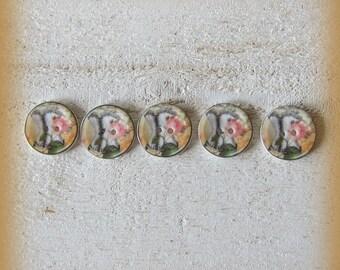 Set of 5 porcelain buttons of 18mm