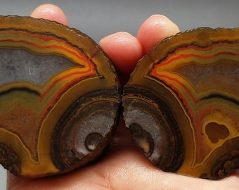 Pair of Rough(Unpolished)Agate Nodule Specimen China/Chinese Fighting Blood Agate/For Making Jewelry & Collecting Xuanhua Hebei China XH-090