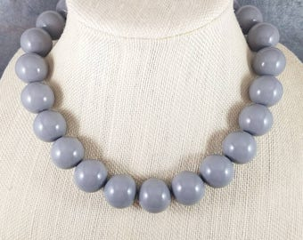 Statement Necklace, Gray, Gray Bead Necklace, Big Necklace, Gray Necklace, Chunky Necklace, Big Bead Necklace, Beaded, Round Bead Necklace