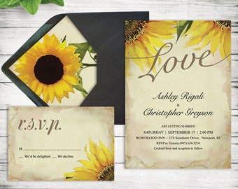 DIY Rustic Sunflower Wedding Invitation Template Printable
