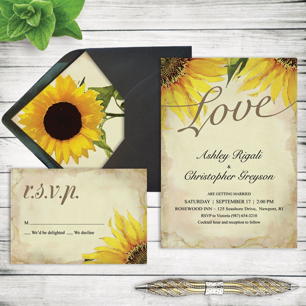 Rustic Sunflower Wedding Invitation Set. Printable Marriage