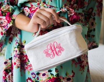 Set of 5 + Monogrammed Jute Train Case | Personalized Travel Case | Toiletry Bag | White Jute Train Case | Bridesmaid Gift | Gift Under 20
