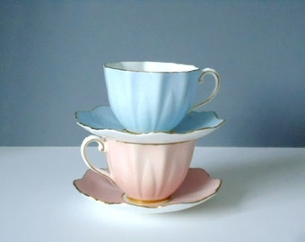 Tea Cup and Saucer Set, Vintage Paragon Demitasse Cups, Pair of Teacups, Pink and Blue Cups and Saucers