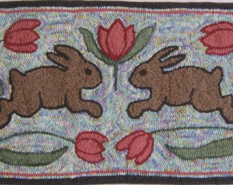 "Rug Hooking PATTERN ""Spring Has Sprung"" Hand-drawn on Linen"