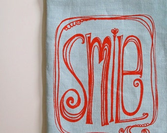 Linen Tea Towel - Smile - Choose your fabric and ink color