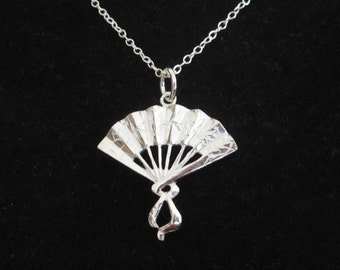 JAPANESE FAN sterling silver pendant with necklace chain, Asian necklace