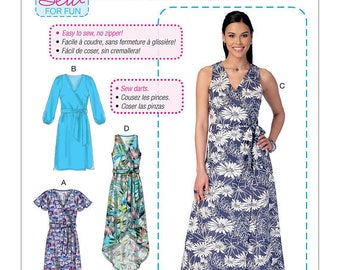 McCall's 7406, Misses Wrap Dress, Learn to Sew, shaped hem, beginner sew, New uncut sewing pattern