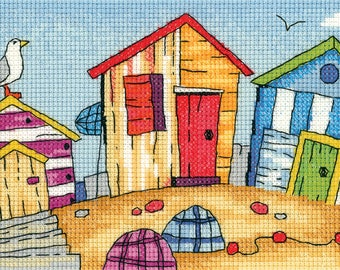 Beach Huts Cross Stitch Kit from Heritage Crafts- By the Sea range, desined by Karen Carter, Cross stitch kit, 14 ct aida, beach scene