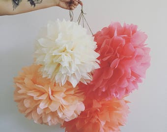 TEA PARTY 5 tissue paper pompoms paris french theme baby bridal wedding decorations first 30th birthday party peach coral rose gold