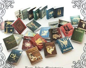 28 MYTHICAL CREATURES Dollhouse Miniature Book Cover Set – 1:12 Magical Creatures Fantastic Beasts  Miniature Book Covers Printable DOWNLOAD