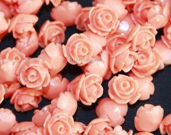 10 pcs of  Acrylic flower bead 11mm- Peach color