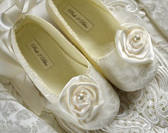 Wedding Shoes - Victoria  Bridal Ballet Flats, Vintage Lace,  Custom Made Women's Bridal Shoes