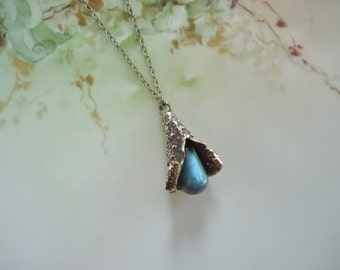 Organic Woodland Labradorite Bronze and Brass Pendant Necklace