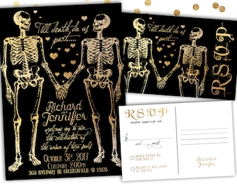 Halloween Wedding Invitation Skeleton Invitation Halloween Invitation Skeleton Couple PRINTABLE Customized Black and Gold Skeleton RSVP