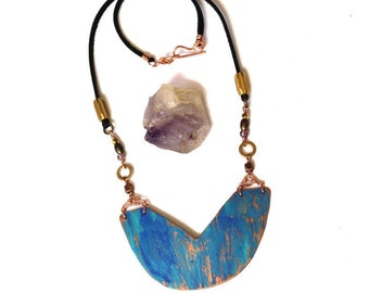 Geometric Copper and Blue Ombre Patina Necklace (P3021)