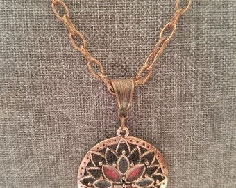 Copper Necklace with Mandala Style Pendant