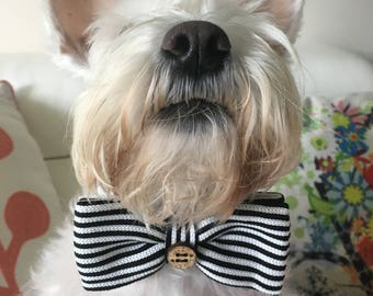 Dog Bow Tie, Dog, Black and White, Stripes, Soft, Silk, Bow Tie, Dog Scarf, Dog bandana, Puppy Bow Tie