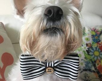 Dog Bow Tie, Dog, Black and White, Stripes, Soft, Silk, Bow Tie, Dog Scarf, Dog bandana, Puppy Bow Tie