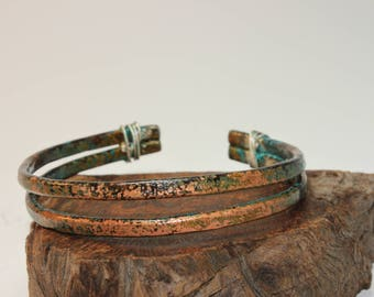 Copper Cuff / Copper Bracelet / Double Band / Sterling Silver Wraps / 554