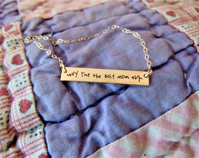 """Handwritten Bar Necklace (1.2"""" x .2"""") Your Handwriting Rose Gold Yellow Gold Sterling Silver Custom unique"""