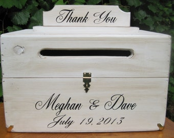Wood Wedding Card Box with Latch Wedding Money Box Wedding