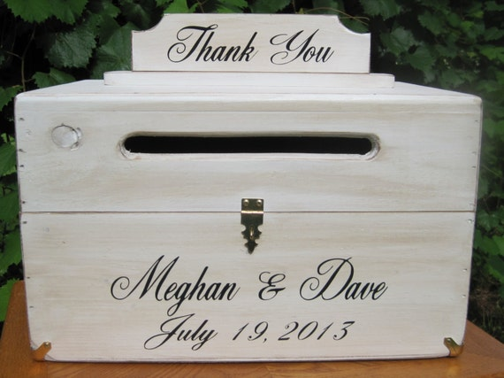 Wedding Card Box Rustic Wooden Chest Personalized Bride and