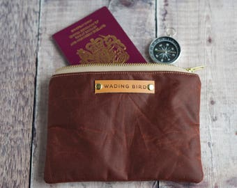 waxed canvas pouch, waxed canvas purse, personalised pouch, clutch, man bag, passport holder, travel bag, gift for him, adventure pouch