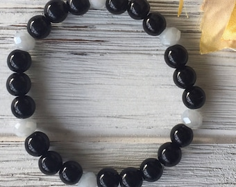 Black Quartz Beaded Stretch Bracelet