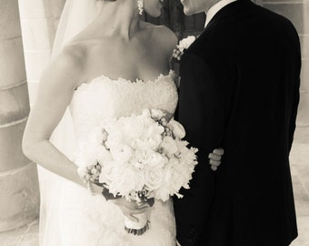 Swarovski Crystal and Pearl Bridal earrings, Long Wedding Earrings, Cluster Chunky Earrings, Lindsey Earrings