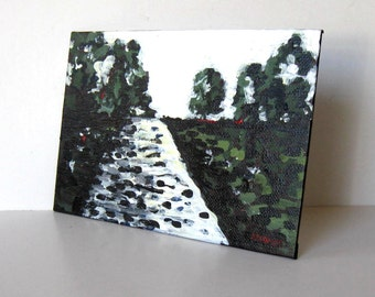 """Original landscape painting on canvas, 5"""" x 7"""",  black and white, tree art, small art, wall decor, gift idea"""