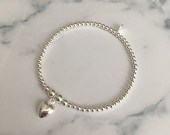 Sterling Silver stretch bracelet with Medium Heart charm
