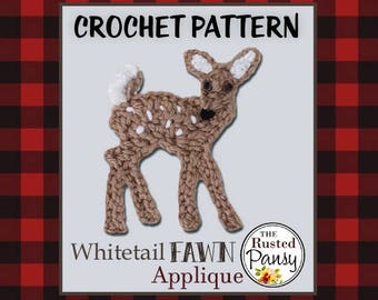 PATTERN - Whitetail Fawn Applique Crochet PATTERN, Woodland Series, Instant Download
