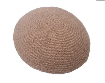 Camelhair Kippah / 7in Mens Yarmulke / Crochet Kippot / Pure Camelhair