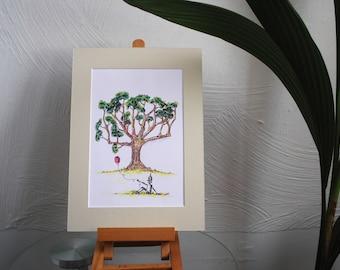 Tinman Sitting Under a Tree
